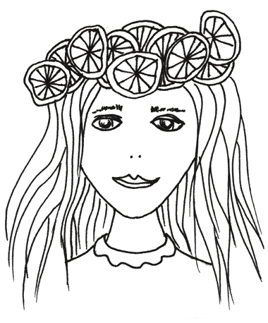 Black and white graphic of a girl with lemons in her hair